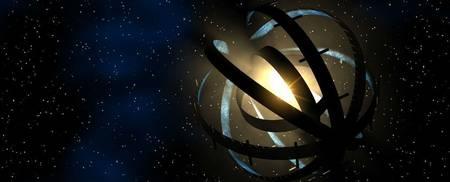 Illustration d'une sphère de Dyson construite autour d'une étoile, hypothèse envisagée pour expliquer les étranges variations de luminosité de l'étoile KIC 8462852. © capnhack.com