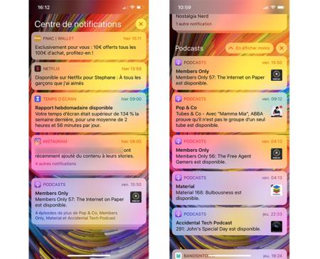 Dans iOS12, les notifications sont regroupées par application. © SR, Futura