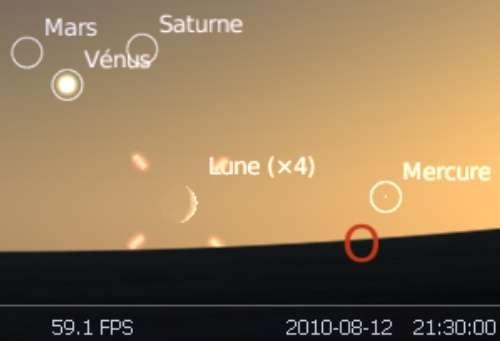 Observez le très fin croissant lunaire en rapprochement avec la planète Mercure