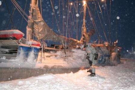 Le Tara emprisonné par les glaces de l'Arctique. Crédit Tara Arctic