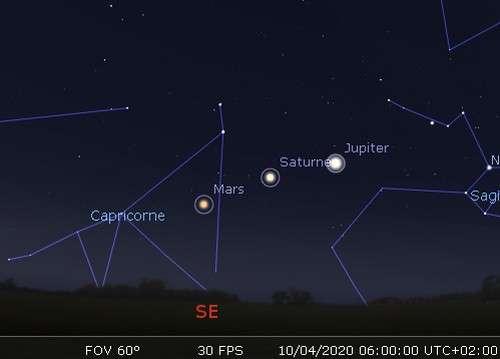 Bel alignement des planètes Mars, Saturne et Jupiter