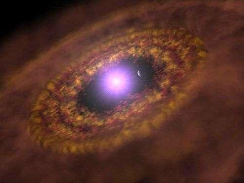 TW Hydrae b tourne à l'intérieur du disque circumstellaire entourant sa jeune étoile-hôte TW Hydrae (vue d'artiste). Crédit : Max Planck Institute for Astronomy