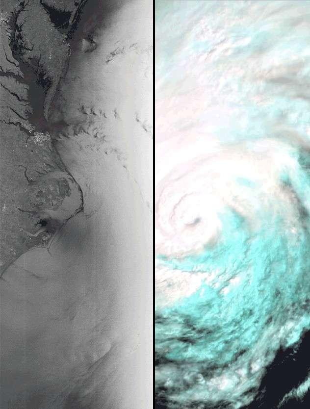 Deux images pour un même ouragan, Irène. © Esa
