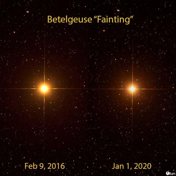 Comparaison de la luminosité de Bételgeuse. À gauche, le 9 février 2016 ; à droite, le 1er janvier 2020. © ottum