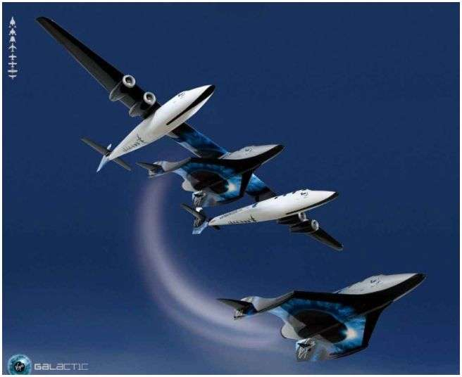 Le SpaceShipTwo de Virgin Galactic largué en vol par le WhiteKnightTwo, l'avion porteur. Crédit Virgin Galactic