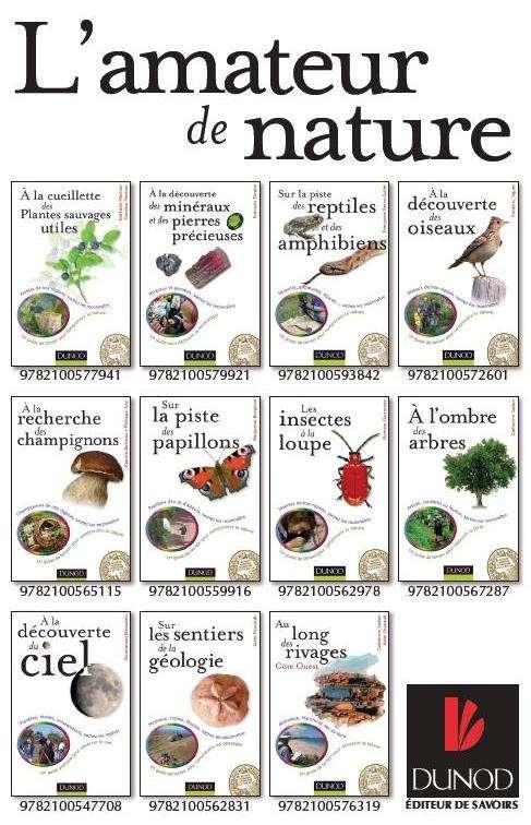 Aperçu des guides de la collection « L'amateur de nature » parus aux éditions Dunod. © Dunod