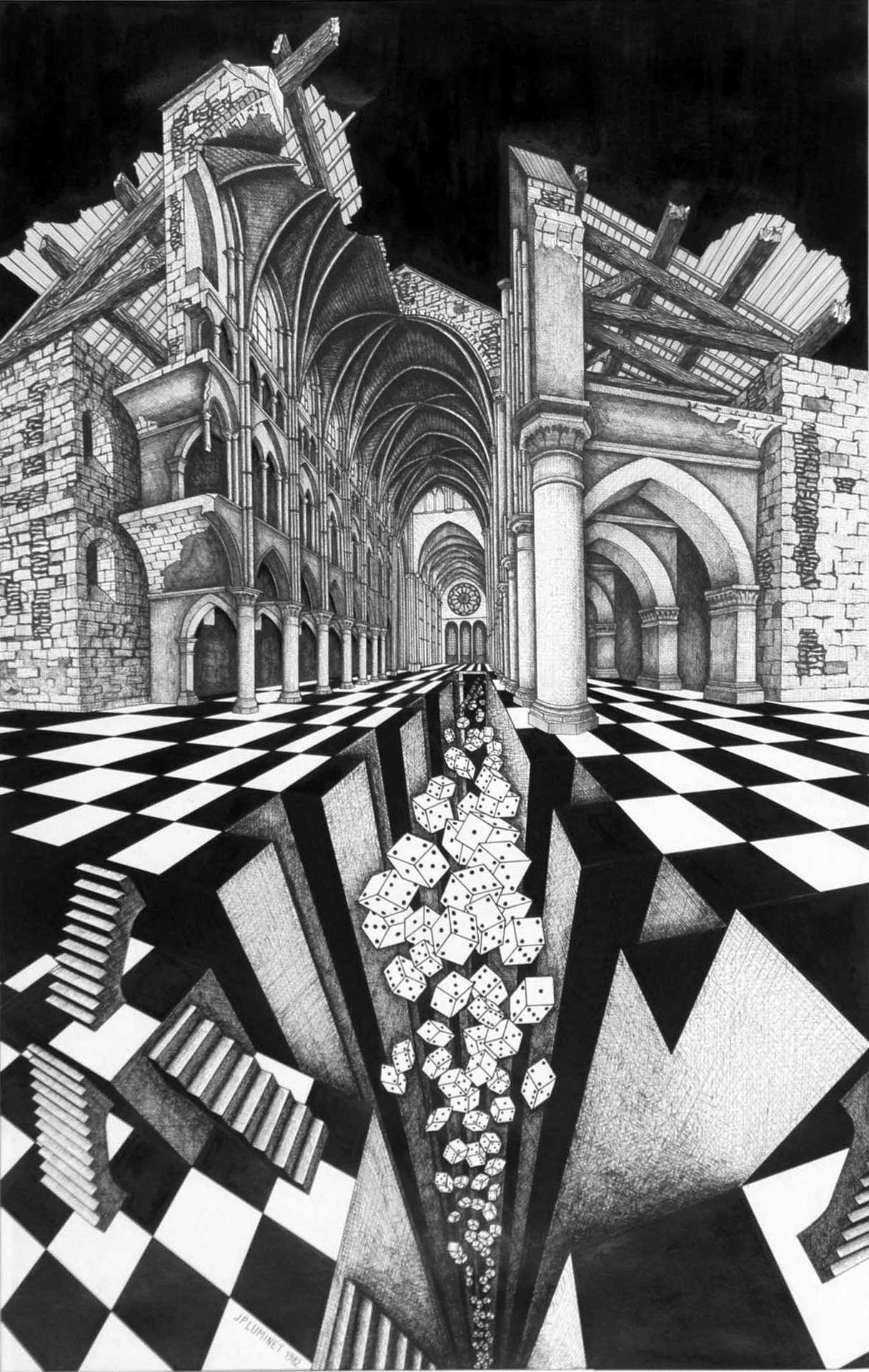 Le Trou Noir, lithographie et dessin (1992) de Jean-Pierre Luminet. © Jean-Pierre Luminet