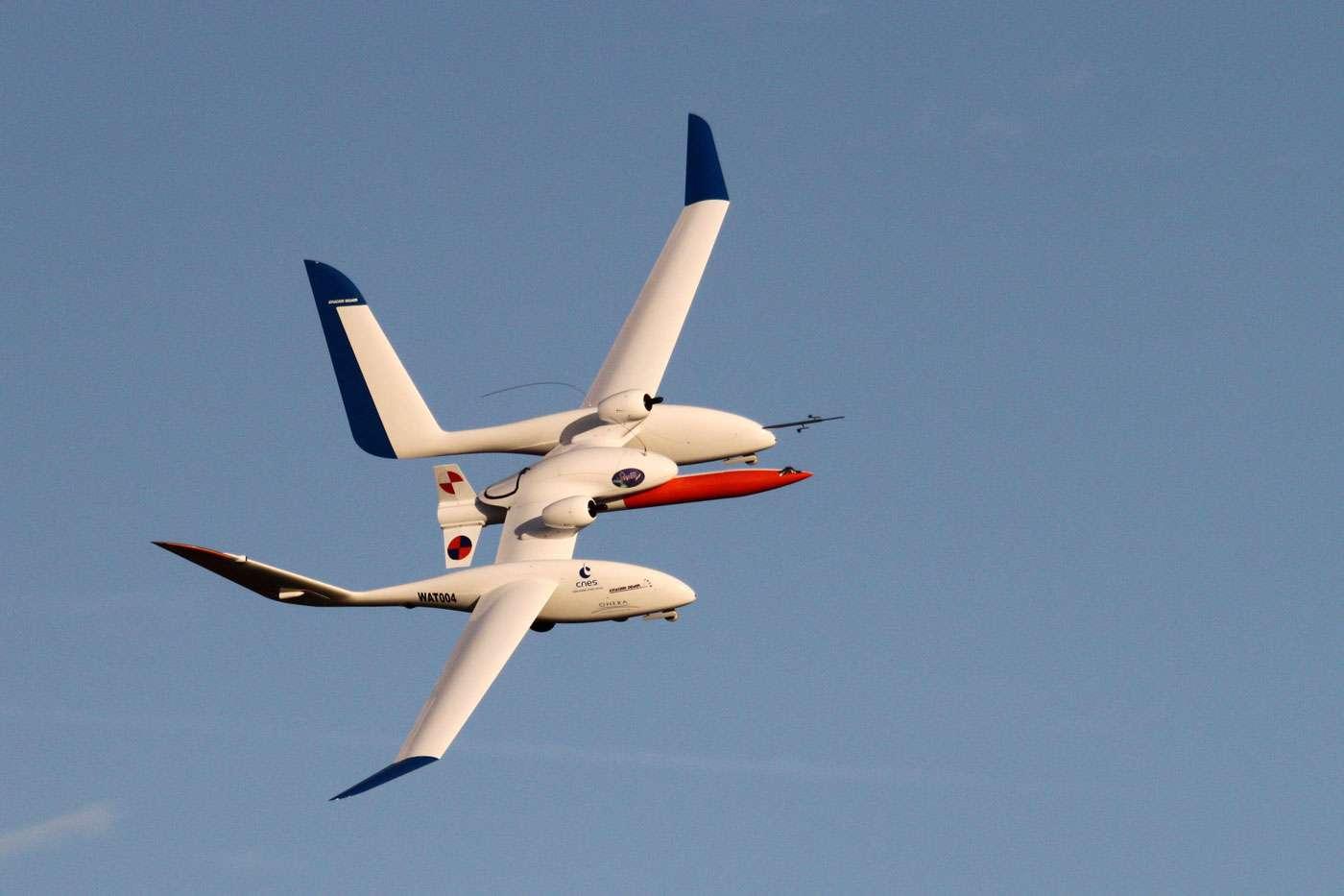 Essai en vol du système Eole avec l'avion porteur et l'étage propulsif. © Onera, Laurent Michelet