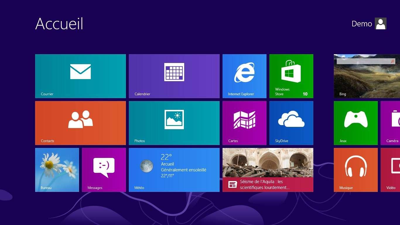 L'écran de Windows 8 affiche de gros boutons pour lancer les logiciels et ouvrir les dossiers, un principe popularisé sur les téléphones mobiles. © Futura-Sciences