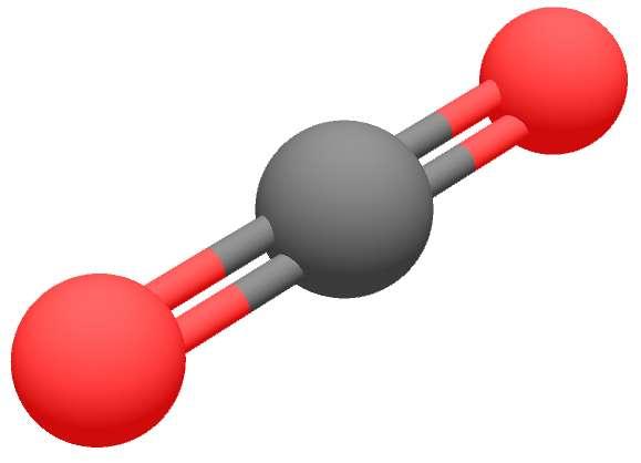 Structure en 3D du dioxyde de carbone. © Frédéric Marbach, GNU 1.2