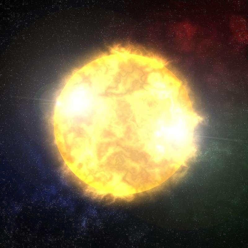 Représentation artistique d'une étoile vue de près, création ThunderGuy