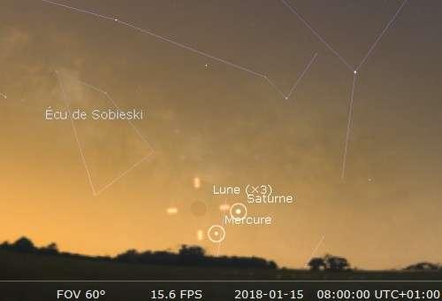 La Lune en rapprochement avec Mercure et Saturne
