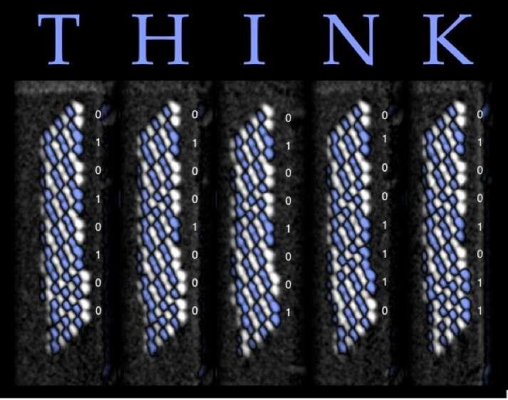 Les unités de mémoire magnétique d'IBM peuvent servir à former des octets, lesquels permettent de coder en binaire le mot anglais think comme on le voit sur ce schéma. © IBM