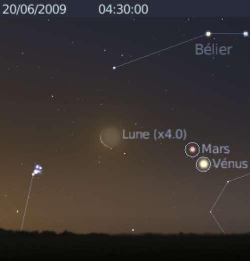 La Lune est en rapprochement avec les Pléiades, et les planètes Mars et Vénus