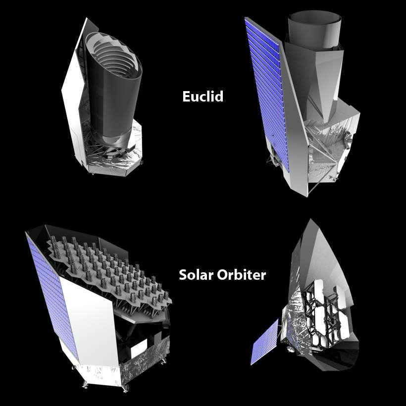 Les concepts exploratoires d'Euclid et Plato par Thales Alenia Space (gauche) et Astrium (droite). Crédit Esa