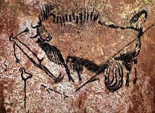 Cette scène du puits de Lascaux est rare. En effet, on y voit un homme. Il est moins bien représenté que l'animal. © Peter80, Wikimedia commons, cc by sa 3.0