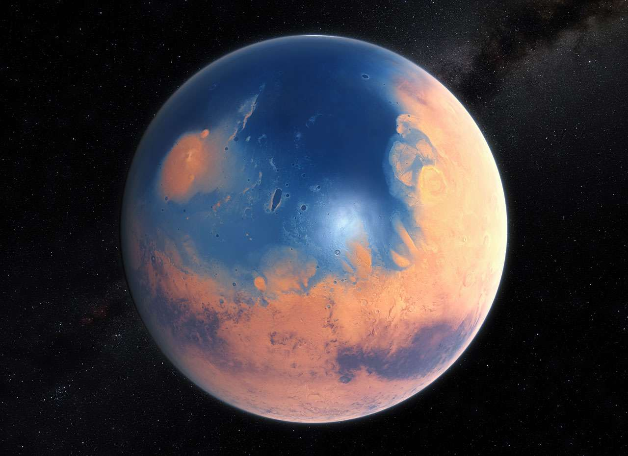 Illustration de la surface de Mars lorsqu'elle fut en partie recouverte d'océans d'eau liquide, il y a environ 4 milliards d'années, au cours du Noachien. © Eso, M. Kornmesser, N. Risinger