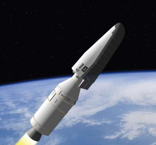 Vue d'artiste du démonstrateur de rentrée atmosphérique IXV et du dernier étage de Vega. Sa mission est prévue pour durer moins d'une heure, lancement compris. © Esa/J. Huart