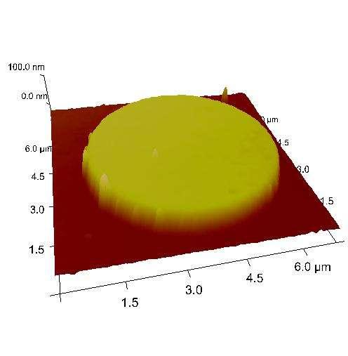 Image d'un nanopoint obtenue par microscopie à force atomique. © C. Moutafis
