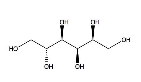 Formule chimique du sorbitol. Crédits DR.