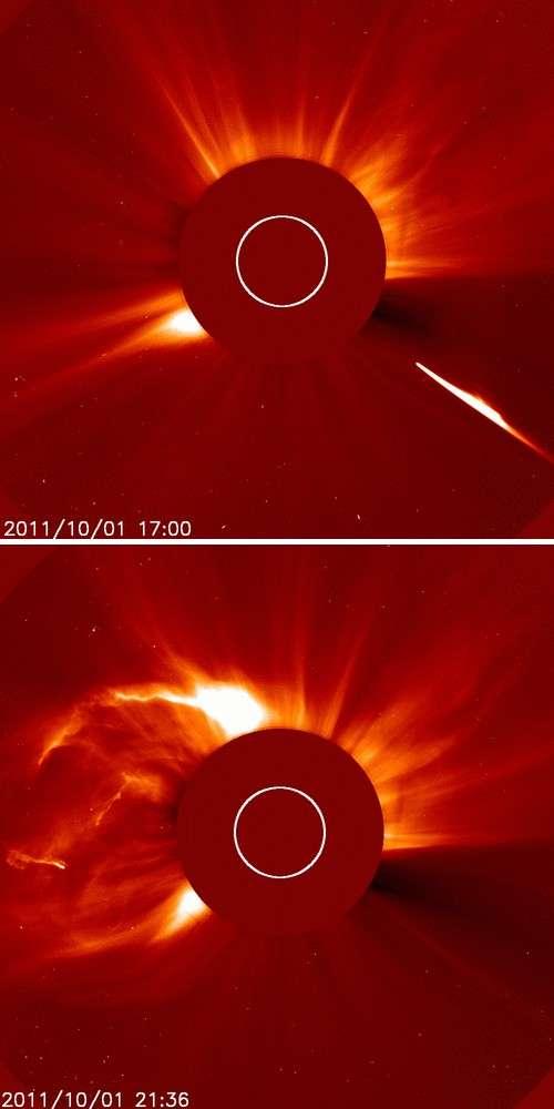 Deux images montrant (en haut) l'arrivée de la comète sur le Soleil suivie (en bas) d'une éjection de masse coronale. © Nasa/Soho