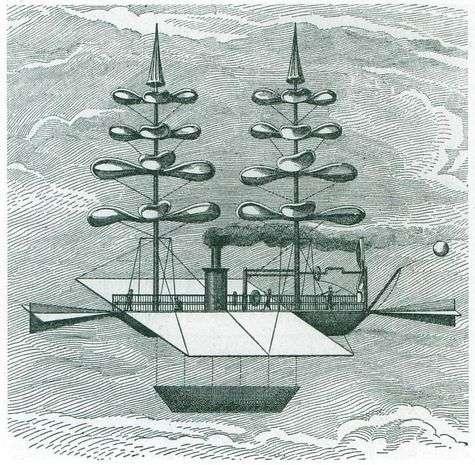 L'hélicoptère, déjà une solution d'avenir au XIXe siècle. © Gabriel de la Landelle