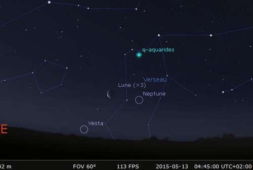 La Lune en rapprochement avec Neptune et Vesta