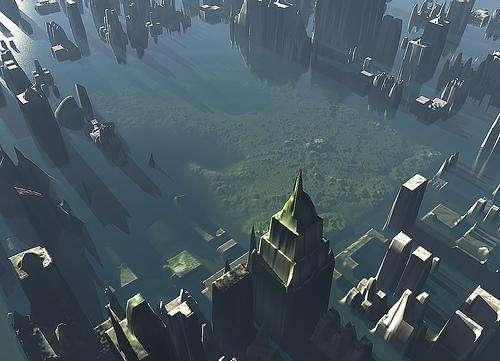 Simulation de la submersion de la ville de New York. Lors de grandes marées et de tempêtes, cette ville peut déjà se retrouver sous les eaux (ses digues ne font que 1,5 m de haut). La hausse du niveau des mers pourraient augmenter la fréquence avec laquelle les inondations surviennent. © Cherrylynx, CC