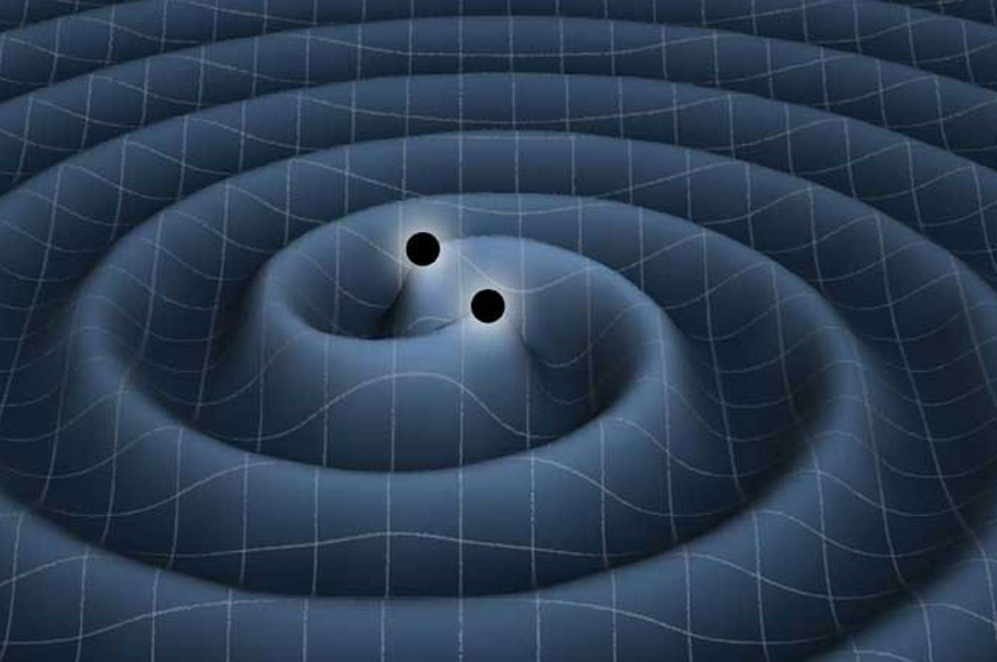 Une représentation d'artiste d'ondes gravitationnelles se propageant dans le tissu de l'espace-temps et rayonnées par un couple de trous noirs spiralant l'un vers l'autre en perdant de l'énergie suite à l'émission de ces ondes. © K. Thorne (Caltech)-T. Carnahan (Nasa GSFC)