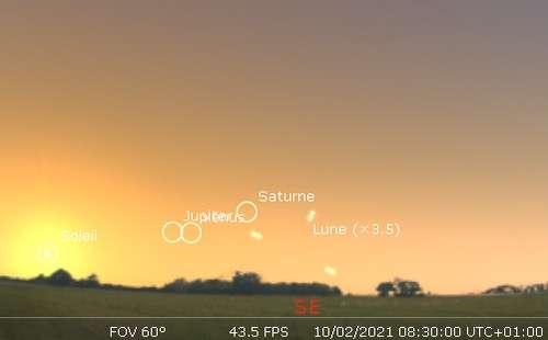 Observez le très fin croissant lunaire du matin