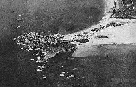 Un grand port disparu : Tyr. Crédit : Recherches aériennes et sous-marines, A. Poidebard, 1934