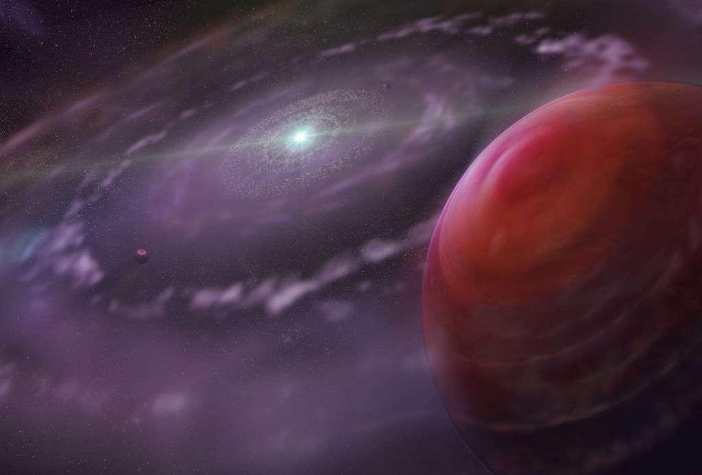 Une vue d'artiste des exoplanètes en formation dans le disque protoplanétaire de HR 8799. Les géantes gazeuses sont peut-être apparues selon les mêmes mécanismes que dans le Système solaire. © Dunlap Institute for Astronomy & Astrophysics, Mediafarm
