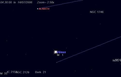 La planète Vénus est en conjonction avec la nébuleuse du Carbe (M1)
