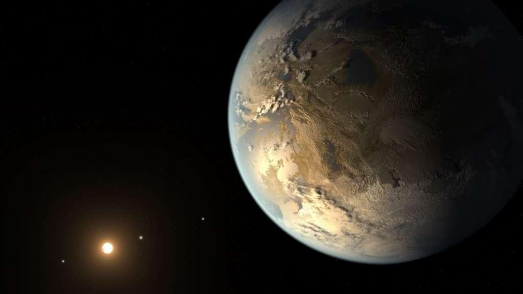 Une vue d'artiste de l'exoplanète Kepler 186f, exoterre supposée. Elle fait partie d'un système planétaire (comptant cinq planètes détectées) autour de l'étoile Kepler-186, située à quelque 500 années-lumière dans la constellation du Cygne. © Nasa Ames/Seti Institute/JPL-Caltech