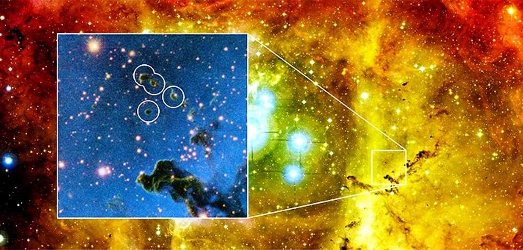 Une vue en fausses couleurs de la nébuleuse de la Rosette. Le zoom montre des globulettes dans les cercles blancs. Certaines de ces régions sont en train de s'effondrer tout en quittant la nébuleuse. Elles devraient donner naissance non à des systèmes planétaires entourant un jeune soleil, mais à des exoplanètes errant dans la Voie lactée, et qualifiées de nomades. © M. Mäkelä, ESO