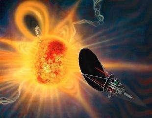 Vue d'artiste de la future sonde solaire (Solar Probe) à son périhélie de 4 rayons solaires