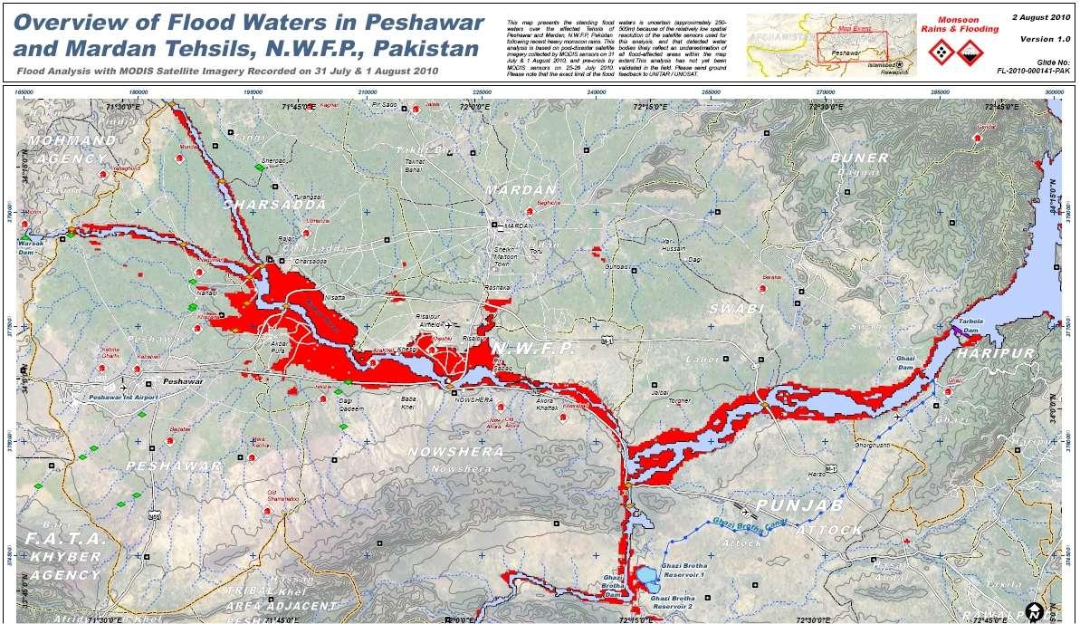 Exemple de carte fournie par l'Unosat, sous l'égide de l'ONU, regroupant les données de différents satellites d'observation de l'environnement. Ici la carte des inondations de la région de Peshawar, au nord du pays. Le Punjab se trouve au sud de la carte. © Unosat