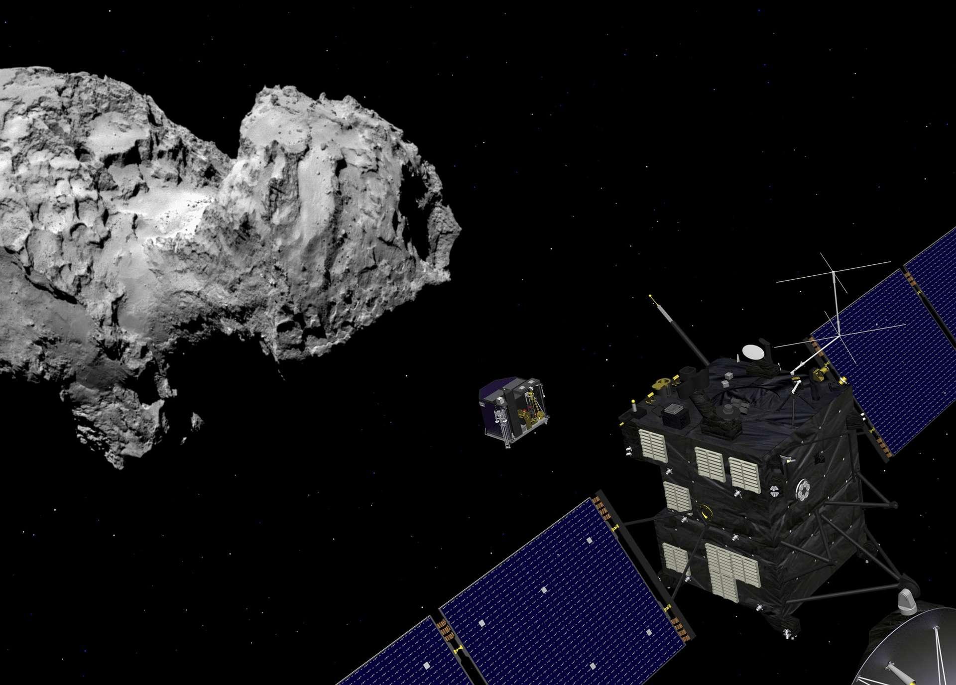 La sonde Rosetta a permis l'étude du noyau de la comète 67P/Churyumov-Gerasimenko durant une partie de son périple autour du Soleil. En orbite autour de la comète depuis le 6 août 2014, elle avait largué le module Philae qui s'est posé avec succès, après quelques rebonds. © ESA, J. Huart, 2014 ; image comète : ESA, Rosetta, MPS for Osiris Team MPS