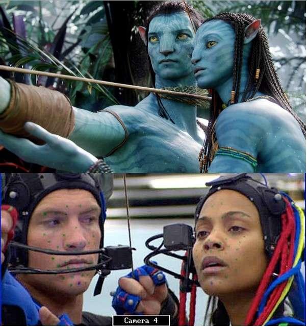 La technique dite de motion capture est beaucoup utilisée au cinéma. Comme ici pour le film Avatar de James Cameron, elle permet de modéliser en 3D les moindres mouvements et expressions des acteurs grâce à des marqueurs placés partout sur le corps. Des caméras émettent un rayon infrarouge réfléchi par les marqueurs. Ces points sont captés et servent à créer l'animation du personnage de synthèse. © Twentieth Century Fox Film Corporation