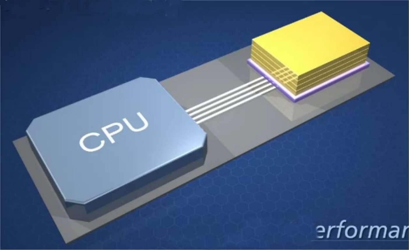 Une mémoire HMC simplifierait le montage et réduirait l'encombrement (occupant un dixième de la surface d'une barrette RDimm actuelle). La puce mémoire (à droite) peut être installée très près du processeur (CPU), et le circuit de contrôle est intégré à la puce HMC. © Micron