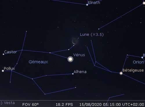 La Lune en rapprochement avec Vénus et Alhena