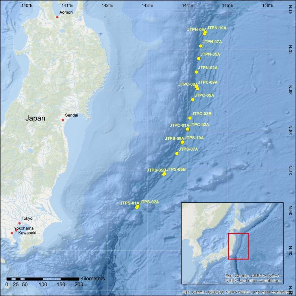 Les forages sont effectués le long de la fosse du Japon, située sur la ceinture de feu du Pacifique. © Ecord