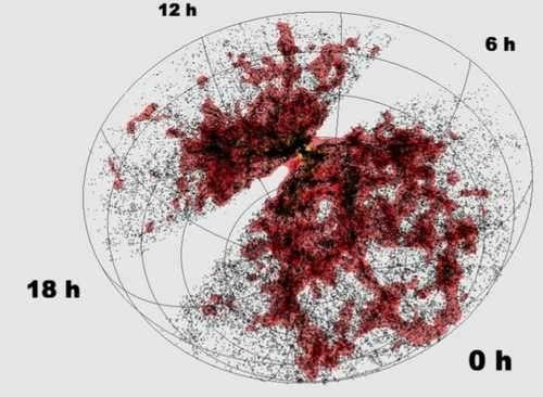 La zone observée par les instruments du 6df Galaxy Survey est ici représentée de façon statique. La partie vierge (foncée sur l'animation) correspond à la zone occultée par notre propre galaxie. Crédit 6dfGS