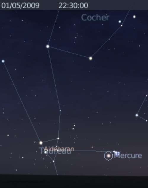 La planète Mercure est en rapprochement avec les Pléiades