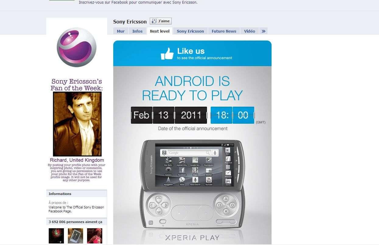 Sur Facebook, Sony Ericsson annonce la présentation de XPeria Play pour le 13 février prochain. © www.facebook.com/sonyericsson