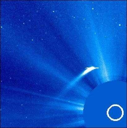 La comète Machholz 1 observée par le satellite Soho le 2 janvier 2002 lors de son passage à proximité du Soleil. Crédit Nasa/Esa