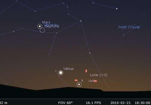 Mercure près de la lumière de Vénus. © Futura-Sciences