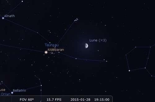 De nouveau, les Pléiades reçoivent la Lune. © Futura-Sciences