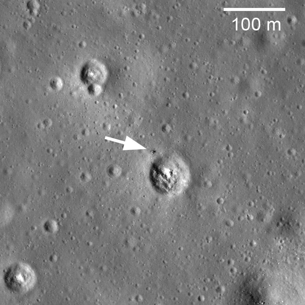 Une vue de Luna 24 sur le sol lunaire, prise par la sonde LRO. © Nasa/Goddard/Arizona State University