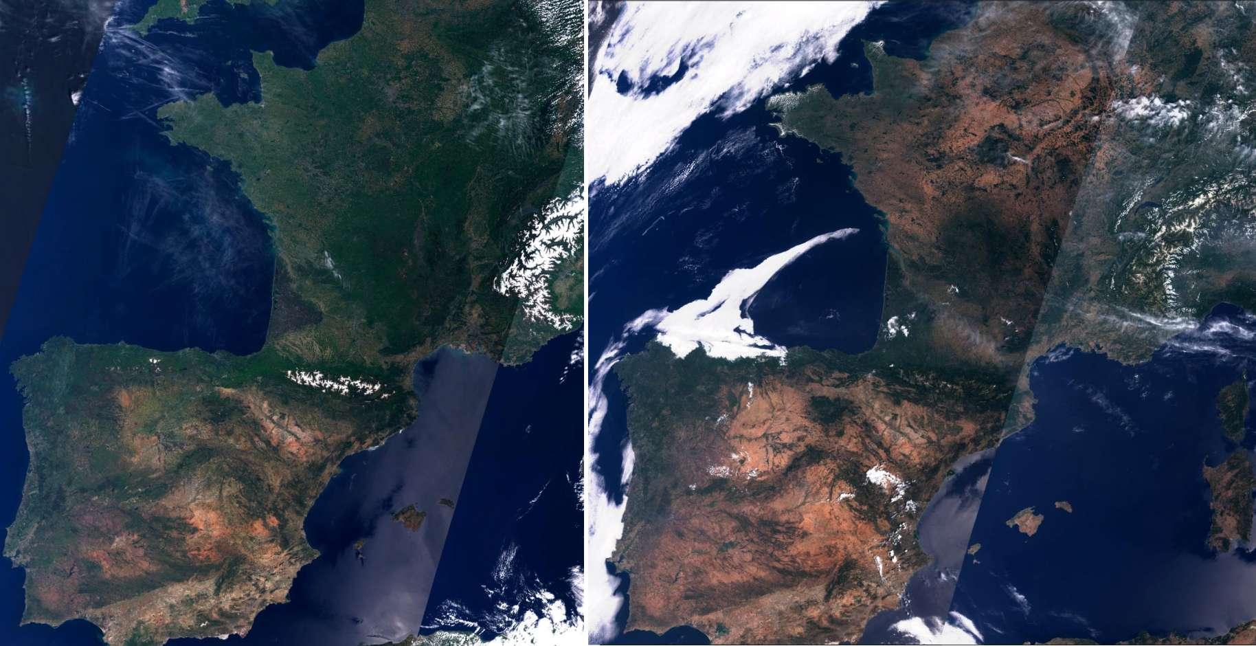 Images satellite de la France et l'Espagne, roussies par les vagues de chaleur et la sécheresse, prises par Sentinel 2 respectivement à la mi-mai 2019 et à la fin juillet 2019, avant et après les épisodes caniculaires de juin et juillet. © ESA, Copernicus